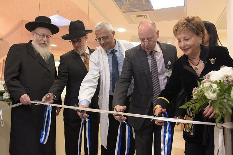 Opening the Irving and Cherna Moskowitz Heart Center (L-R)Rabbi Litzman, Rabbi Daniel Moskowitz, Professor Shaul Atar, Dr. Barhoum, Raya Strauss Ben-Dror